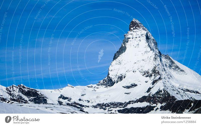 Matterhorn Ferien & Urlaub & Reisen Tourismus Schnee Berge u. Gebirge wandern Umwelt Natur Landschaft Wolkenloser Himmel Frühling Schönes Wetter Eis Frost Alpen