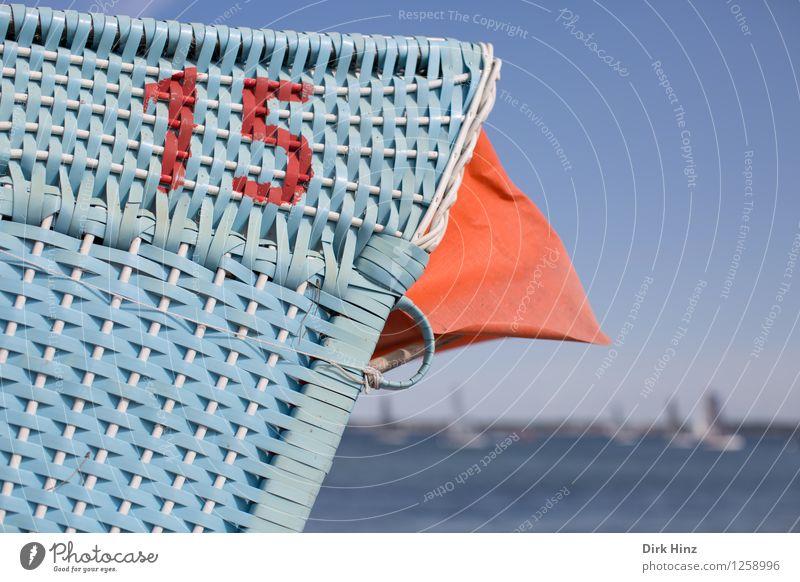 Nummer 15 mit Aussicht Ziffern & Zahlen blau orange Freiheit Freizeit & Hobby Horizont Leben Lebensfreude Tradition Umwelt Strandkorb Küste Segelboot Schutz