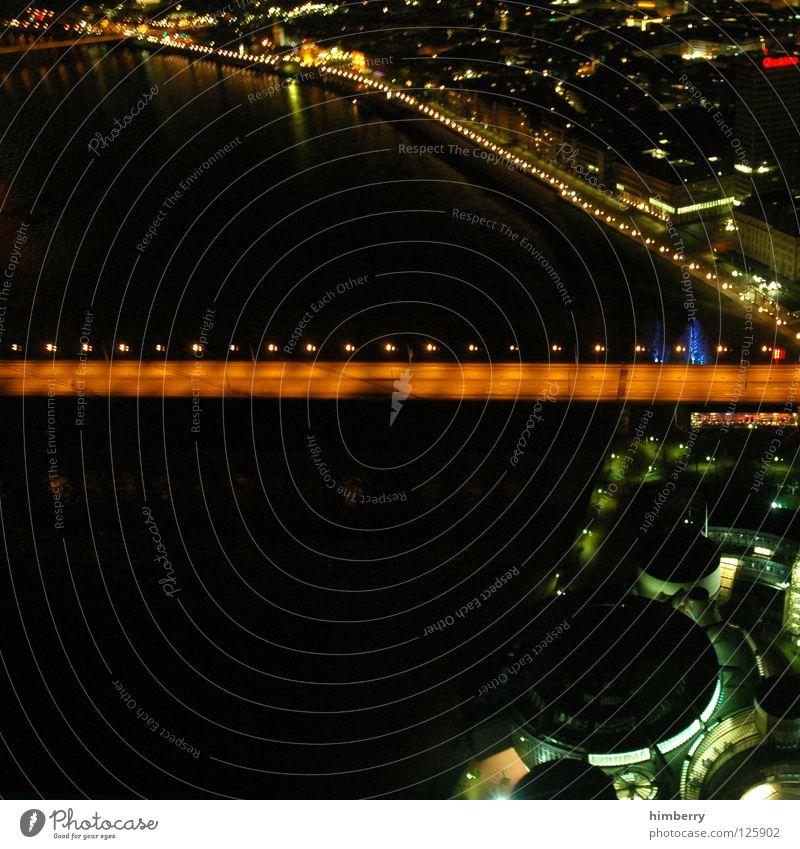 panama bay Stadt blau Straße Lampe Beleuchtung groß Hochhaus Lifestyle Brücke modern Turm Spitze Skyline Düsseldorf Belichtung