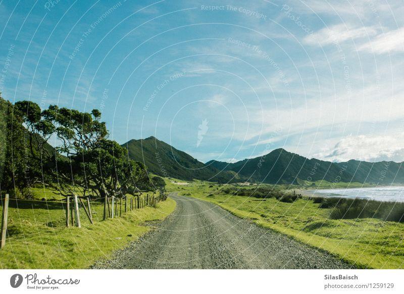 Endlos Natur Ferien & Urlaub & Reisen Pflanze Sommer Sonne Baum Meer Landschaft Wolken Ferne Strand Berge u. Gebirge Umwelt Straße Küste Freiheit