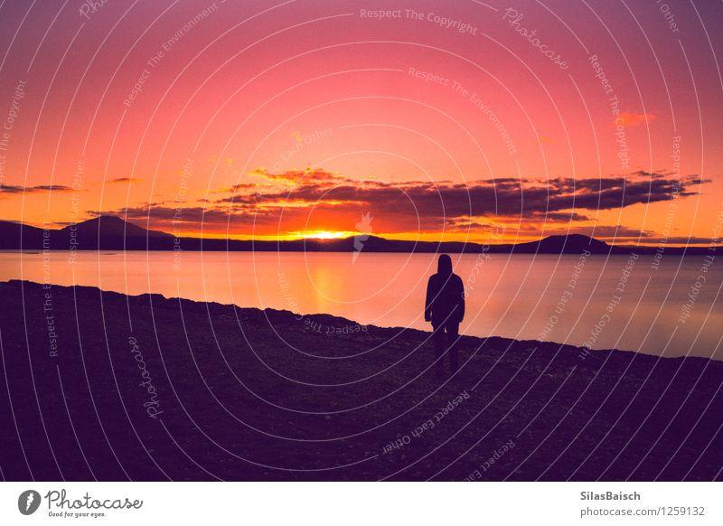 Sonnenuntergang in Farbe Mensch Natur Ferien & Urlaub & Reisen Jugendliche Sommer Landschaft Junger Mann Ferne 18-30 Jahre Erwachsene Freiheit Körper wandern