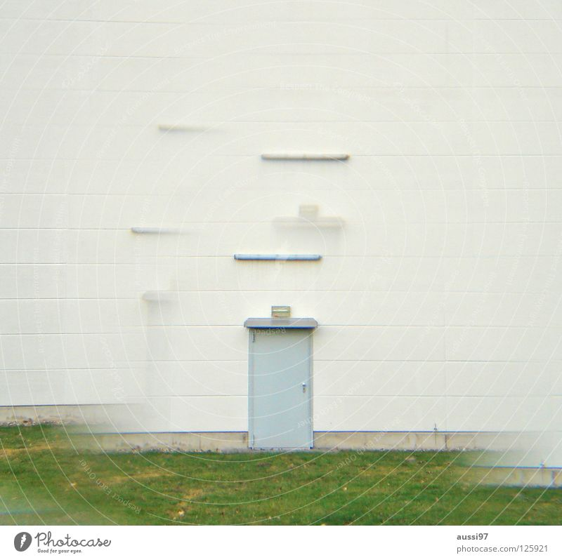 Lost door grün Haus Einsamkeit Tür geschlossen Industrie Werkstatt Eingang Lagerhalle urinieren Fabrikhalle Prisma Gewerbegebiet verbarrikadiert