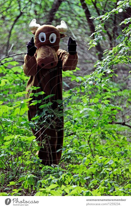 Hook it! Kunst Kunstwerk ästhetisch Elch Elchkuh Elchbulle Stress Aggression Finger Mittelfinger drohen drohend Kostüm Wald Karnevalskostüm braun Fremder