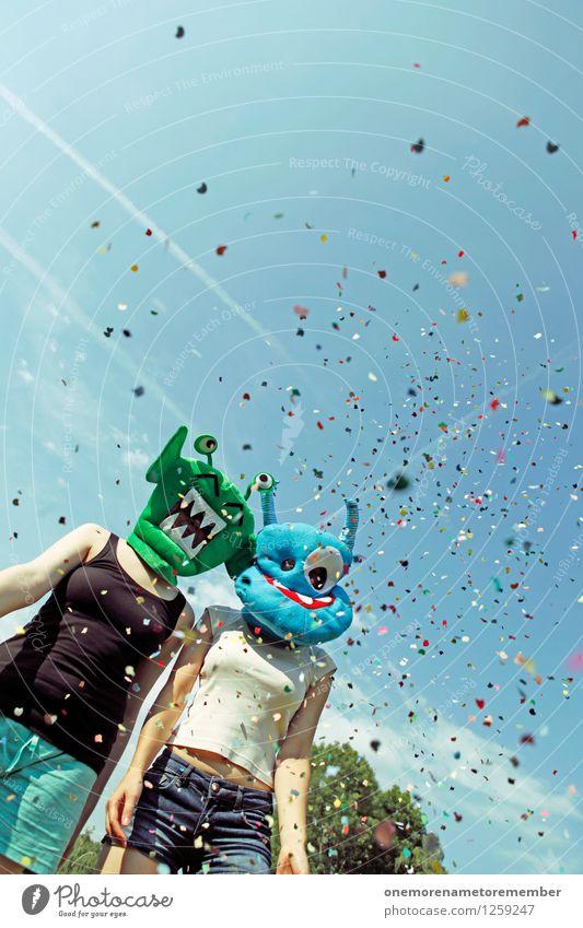 party people Freude Kunst Party ästhetisch viele werfen Kunstwerk Blauer Himmel Konfetti Monster spaßig Partystimmung Spaßvogel Außerirdischer außerirdisch