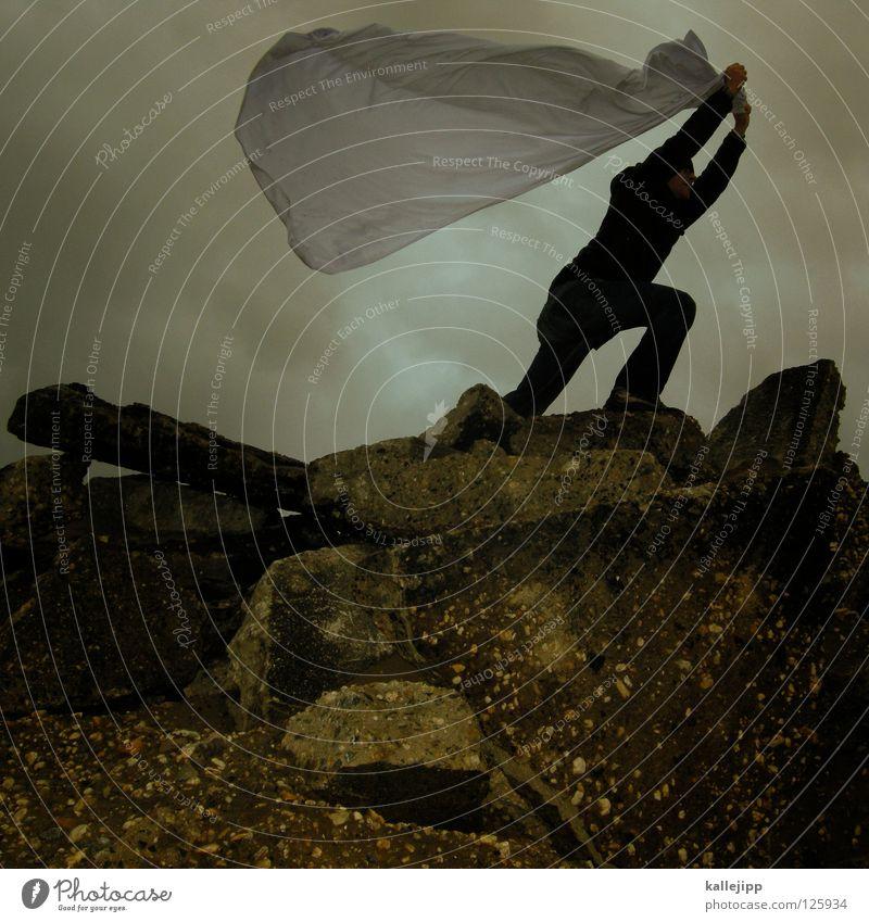peace Mensch Mann weiß Wolken Einsamkeit Landschaft Luft Regen Wetter Wind Klima Schilder & Markierungen Energiewirtschaft nass Beton Beginn