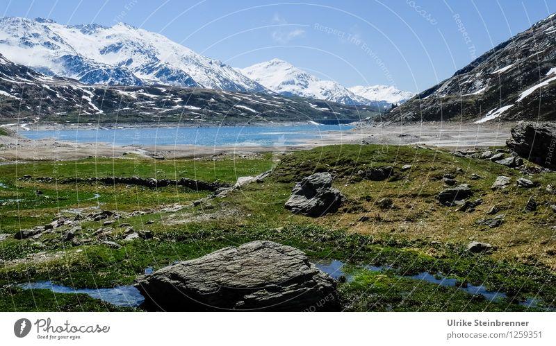 Lago di Montespluga Natur Ferien & Urlaub & Reisen Pflanze blau grün Wasser weiß Landschaft Berge u. Gebirge kalt Umwelt Frühling Gras Schnee natürlich See