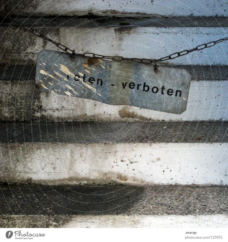 eten verboten alt Einsamkeit grau Metall dreckig Schilder & Markierungen Beton Treppe Kommunizieren Schriftzeichen kaputt verfallen Rost Hinweisschild