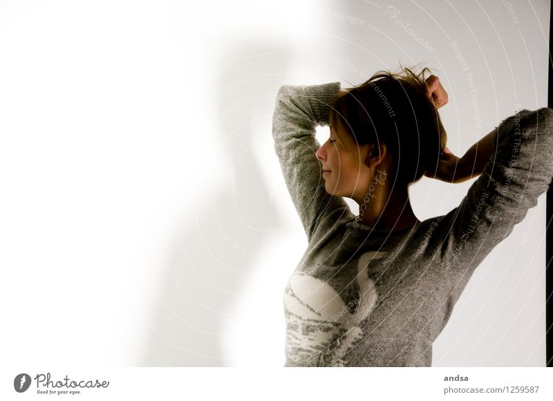 . Mensch feminin Junge Frau Jugendliche 1 18-30 Jahre Erwachsene Bekleidung Pullover Wollpullover Wolle Haare & Frisuren brünett langhaarig Zopf Schwan Erholung
