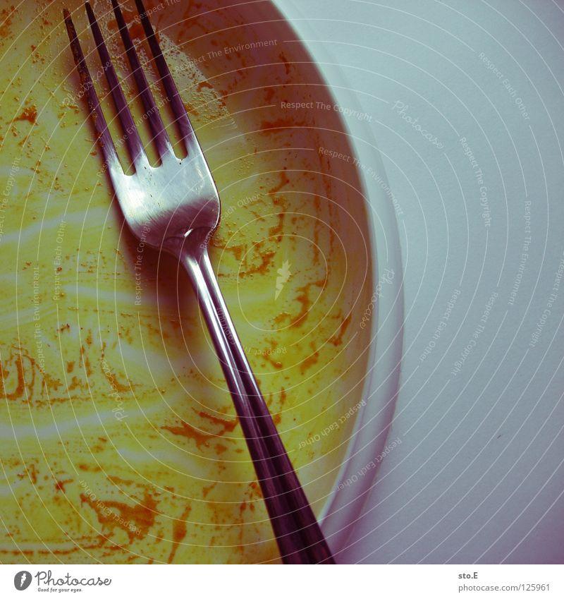 zurück an die arbeit... blau gelb Metall Hintergrundbild leer Ernährung Pause Kunststoff Appetit & Hunger Dienstleistungsgewerbe Statue Teller Indien fertig Besteck Gabel