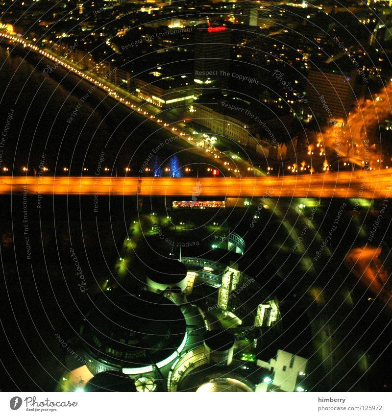 panama bayline Stadt Lifestyle Nachtleben senden Funkturm Langzeitbelichtung Belichtung Stadtleben Hochhaus Brücke modern Düsseldorf Abend Straße blau Skyline