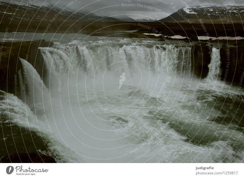 Island Umwelt Natur Landschaft Urelemente Wasser Klima Fluss Wasserfall Godafoss außergewöhnlich dunkel gigantisch kalt nass natürlich wild Stimmung Kraft