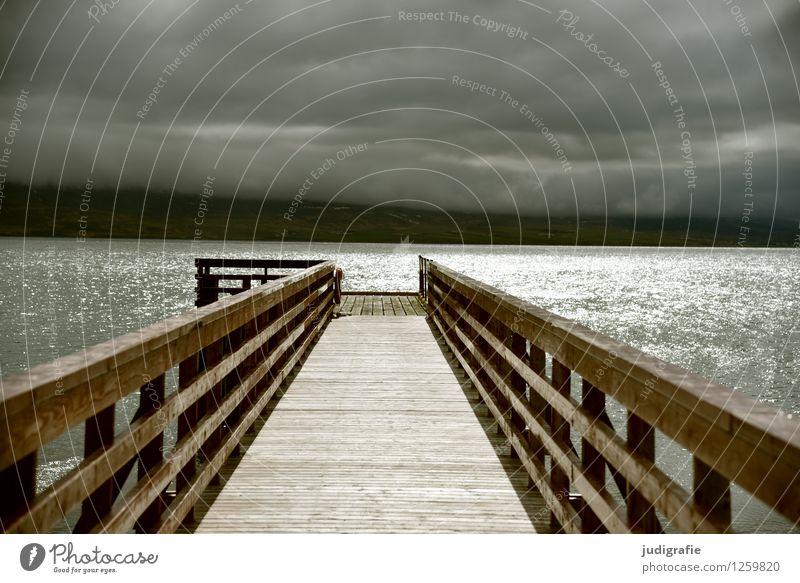 Island Umwelt Natur Landschaft Wasser Himmel Wolken Sonnenlicht Klima Wetter schlechtes Wetter Unwetter Küste Fjord Hafen leuchten außergewöhnlich bedrohlich