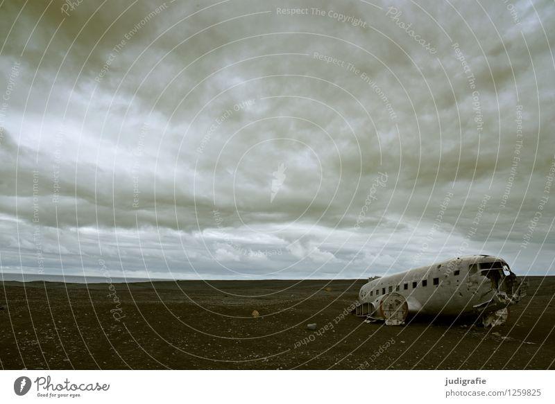 Island Umwelt Landschaft Urelemente Erde Himmel Wolken Klima Luftverkehr Flugzeug Passagierflugzeug Flugzeugwrack außergewöhnlich bedrohlich dunkel gruselig