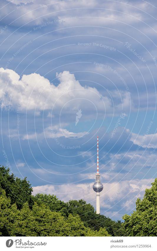 Berliner Fernsehturm Ferien & Urlaub & Reisen Stadt blau grün Baum Wolken Architektur Berlin Tourismus Bauwerk Wahrzeichen Hauptstadt Stadtzentrum Sehenswürdigkeit Berliner Fernsehturm Attraktion