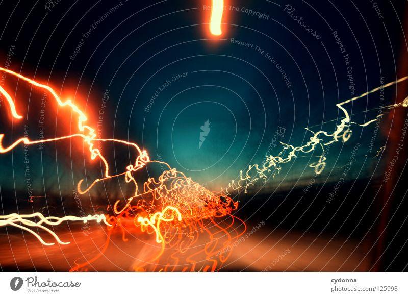 Lichter Ereignisse Ferien & Urlaub & Reisen entdecken Aktion Horizont schön Ferne Gedanke Langzeitbelichtung Nacht Zeit Sonnenuntergang Dämmerung fahren