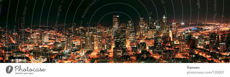 Seattle@Night Stadt dunkel groß Hochhaus USA Skyline Panorama (Bildformat) Gefäße
