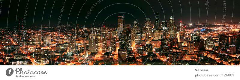 Seattle@Night Stadt Panorama (Aussicht) dunkel Langzeitbelichtung Gefäße Hochhaus USA Licht Skyline groß Panorama (Bildformat)