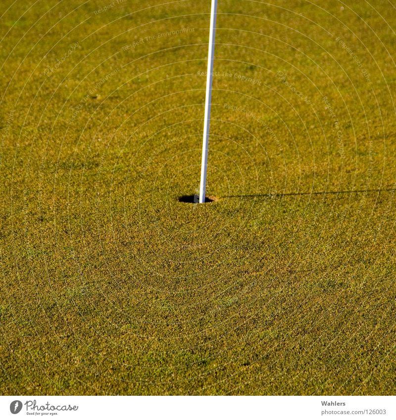 Auf dem Golfplatz II alt weiß grün Winter Sport Herbst Spielen Ball Rasen Golf Loch Stab verhaften Rasenmäher Ravensburg