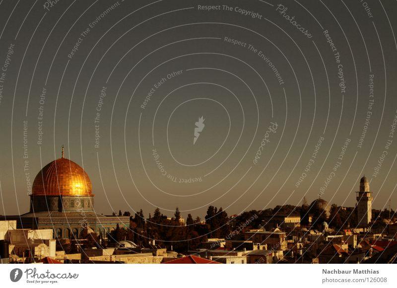 goldene aussichten Jerusalem Stadt Israel Haus Arabien heilig Naher und Mittlerer Osten multikulturell Felsendom Kuppeldach Islam Judentum Christentum