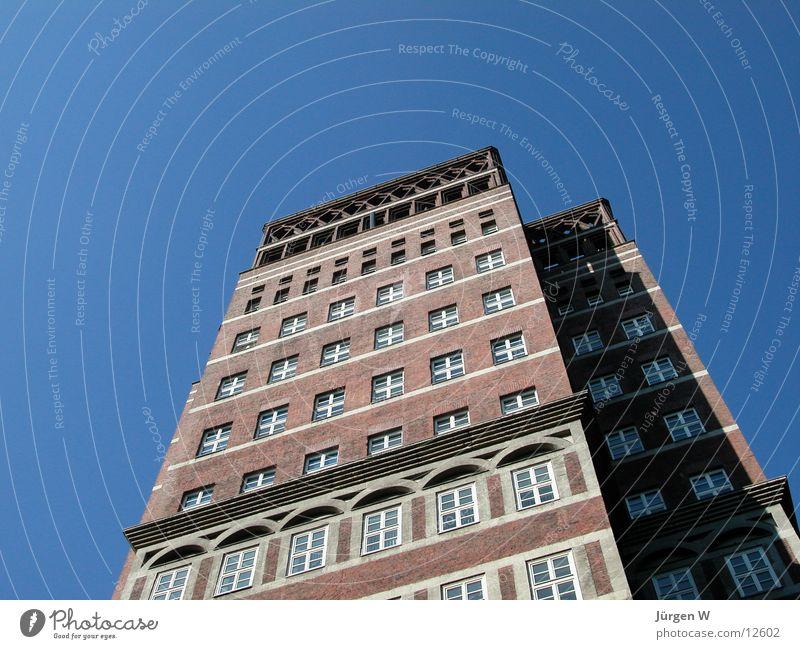 Das erste Hochhaus Denkmal Fenster Fassade Himmel Architektur Düsseldorf blau building high sky blue window Vorderseite architecture