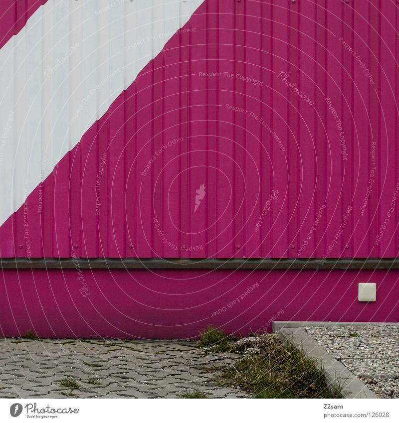 quadratisch, grafisch ....... Quadrat graphisch Linie rosa magenta weiß Wiese grün Steckdose Bordsteinkante einfach Stil Architektur Dinge Lamelle