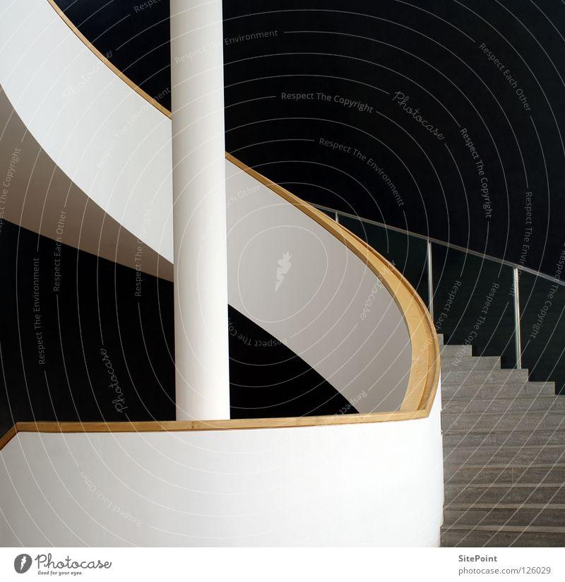 Treppe weiß schwarz grau Architektur Geländer aufsteigen