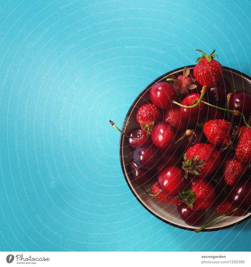 mit mir ist gut kirschen essen! Lebensmittel Ernährung Picknick Vegetarische Ernährung Schalen & Schüsseln frisch lecker nass rund süß blau rot türkis Kirsche