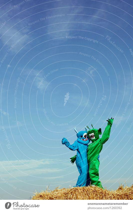 Vieraugenparty Kunst Kunstwerk ästhetisch Monster Außerirdischer außerirdisch Ungeheuer ungeheuerlich blau grün Karnevalskostüm Freude spaßig Spaßvogel