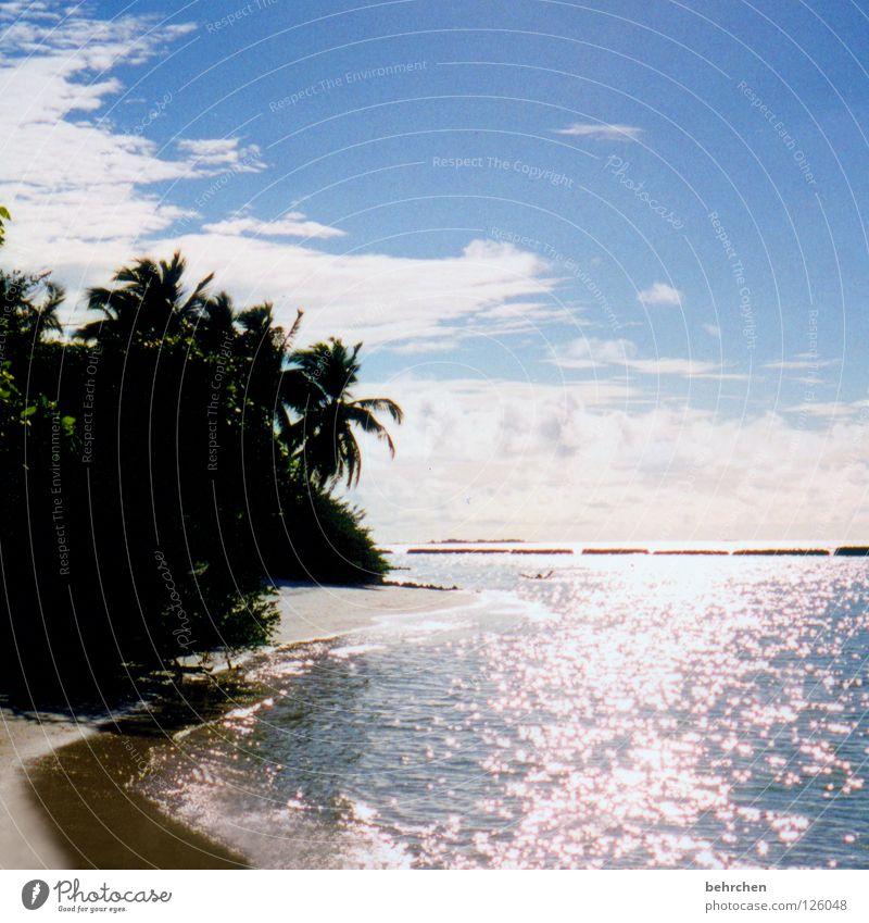 nix wie weg... Sonne Meer Sommer Strand Ferien & Urlaub & Reisen Lampe träumen Sand hell Küste glänzend Insel Romantik Asien Palme Fernweh