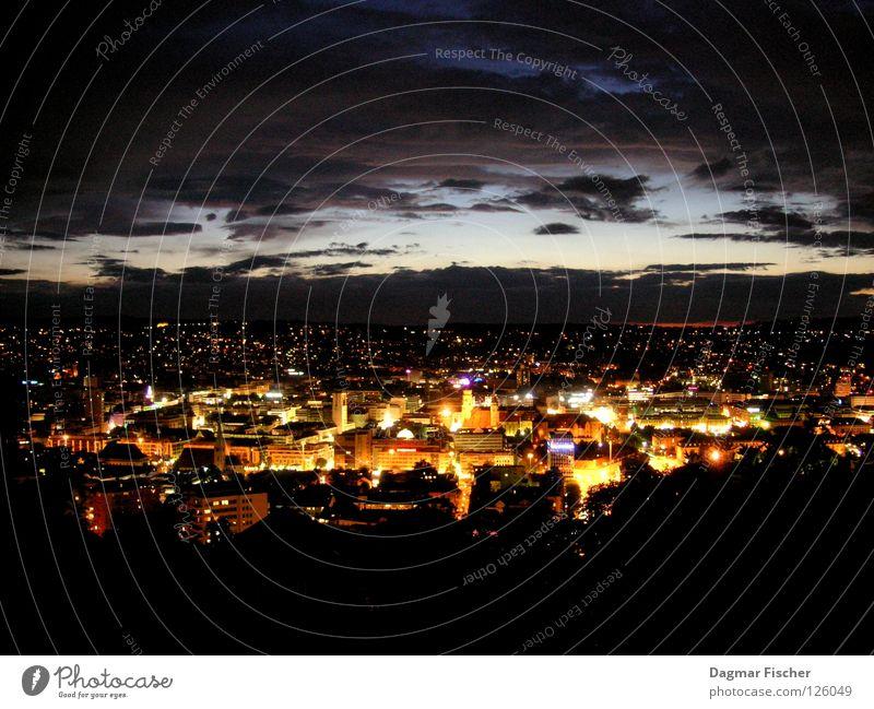 Stuttgart at night Abend Nacht Licht Langzeitbelichtung Vogelperspektive Panorama (Aussicht) ruhig Tourismus Ferne Freiheit Berge u. Gebirge Haus Lampe