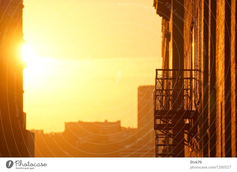 Light up my day Himmel Sommer Sonne ruhig Haus Fenster Wärme Wand Gebäude Mauer Fassade Wohnung orange Zufriedenheit Treppe Häusliches Leben