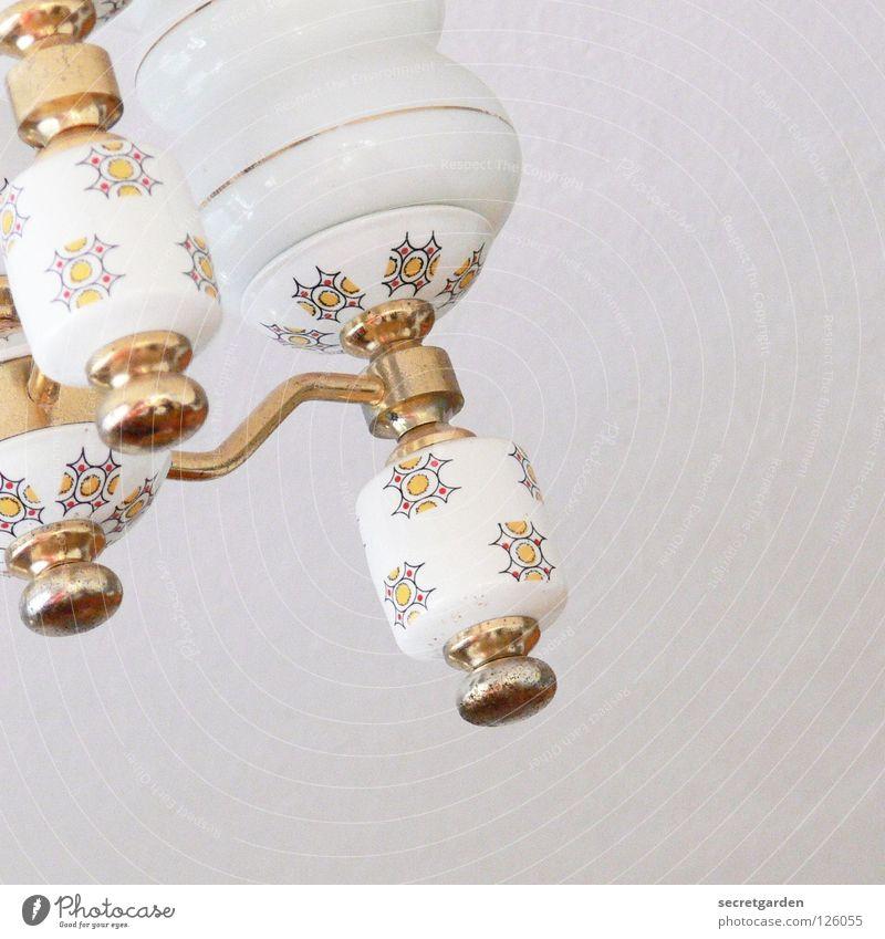 omas leuchte alt weiß schön Pflanze Haus Erholung kalt Spielen Lampe hell Kunst Raum Beleuchtung Glas gold Wohnung
