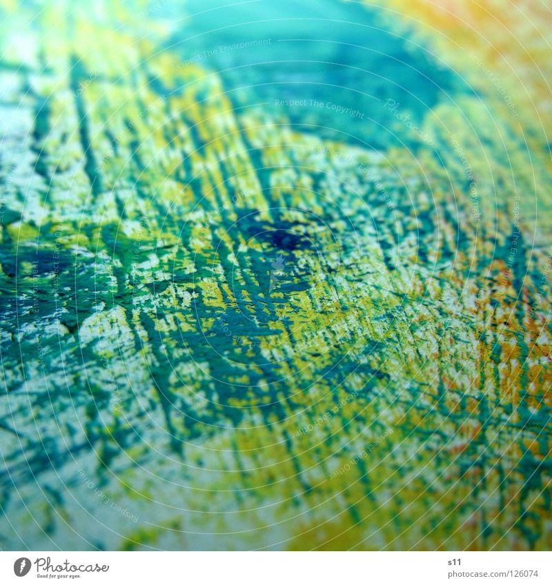 Farbspuren V Pinselstrich Gemälde Kunst mehrfarbig gelb weiß Hintergrundbild zusätzlich Gegenteil Kunsthandwerk Farbe Makroaufnahme Nahaufnahme streichen