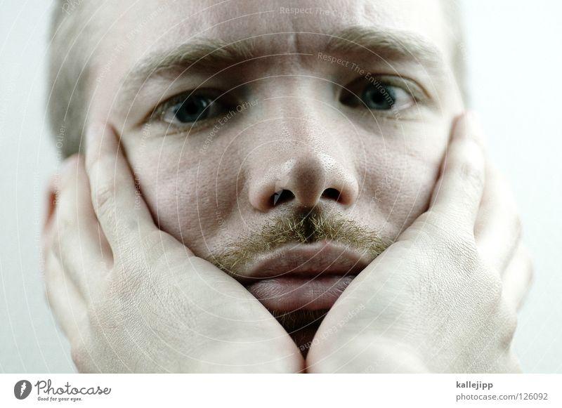 herzilein... Liebeskummer Frieden Mann Lifestyle Trauer träumen Bart Hand Pore Finger Handfläche Lippen Gesicht Denken finden planen Eifersucht Wut Gebet weiß