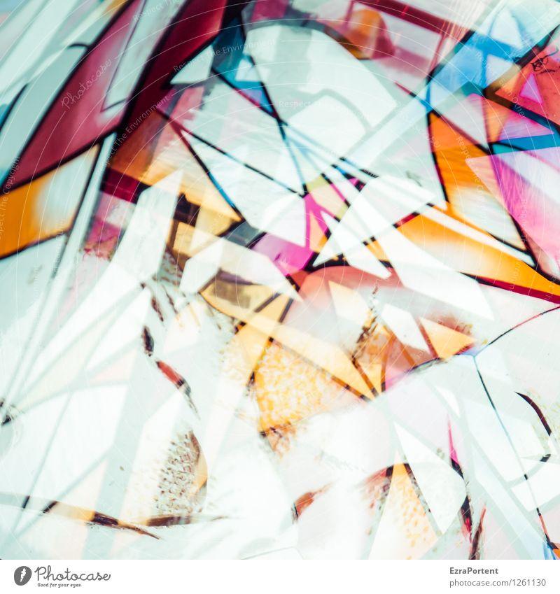 konfus Hand Kunst Fenster Glas Linie Streifen ästhetisch blau orange rot weiß Design Farbe Strukturen & Formen durcheinander unlogisch Doppelbelichtung