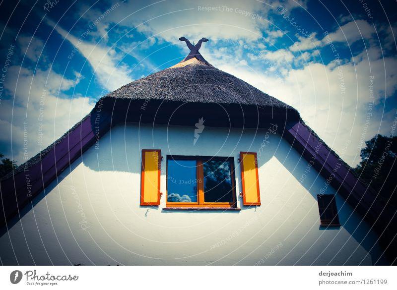 Ferienhaus. Wunderschönes Altes Fachwerkhaus Haus im  Spreewald mit Reetdach und bemalten Fensterläden.. Design Wohlgefühl Ausflug Traumhaus Sommer