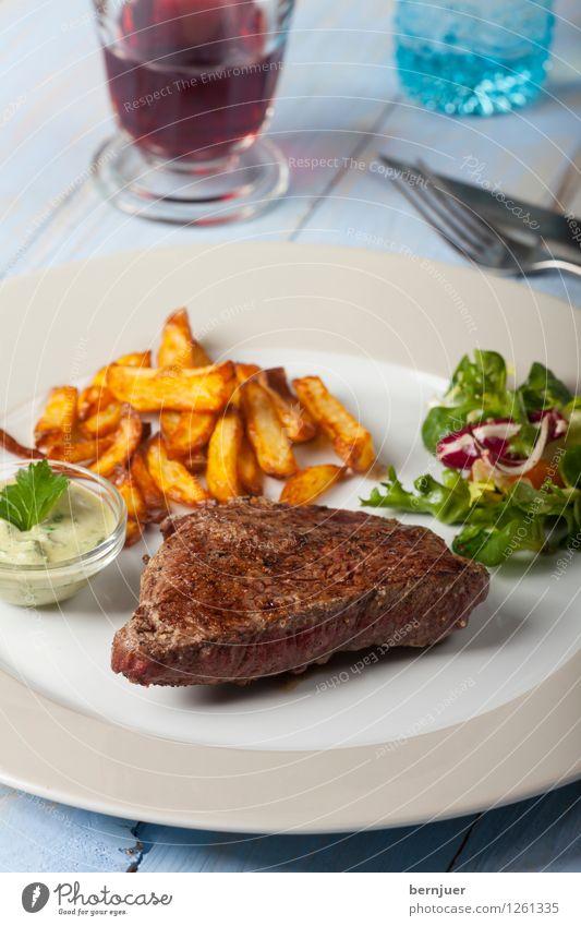 Ladysteak Speise Glas Gemüse lecker Restaurant Grillen Teller Fleisch Abendessen Mittagessen Salat Salatbeilage saftig Rind Kartoffeln Steak