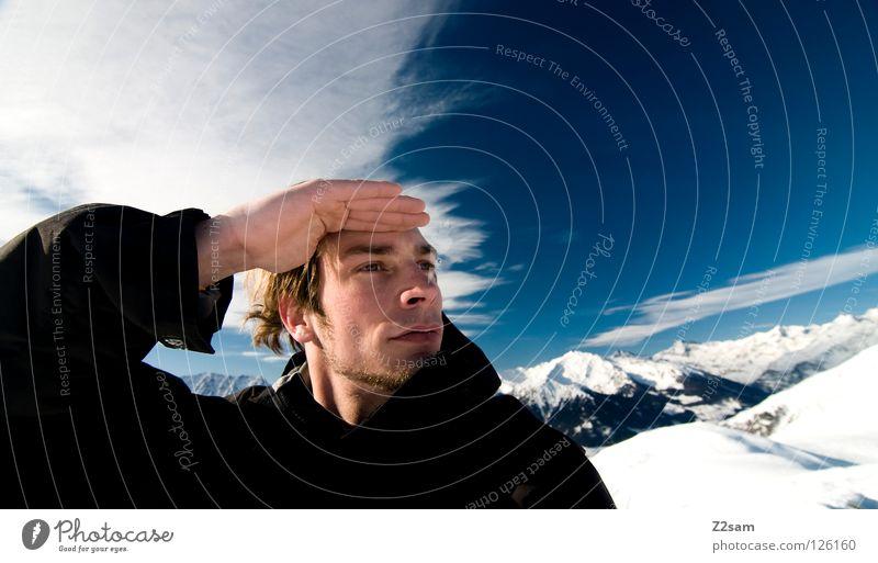 DIE AUSSICHT Winter Wolken blond Jacke schwarz Mann ruhig kalt Wind Seite Aussicht Hand blau dunkel weiß Gipfel Südtirol Berge u. Gebirge Alpen Himmel