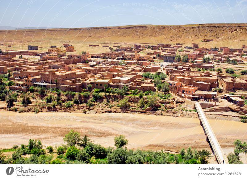 Aït-Ben-Haddou neuer Teil Umwelt Natur Landschaft Pflanze Himmel Horizont Sommer Wetter Schönes Wetter Baum Hügel Fluss Wüste Oase Ait Benhaddou Marokko Afrika