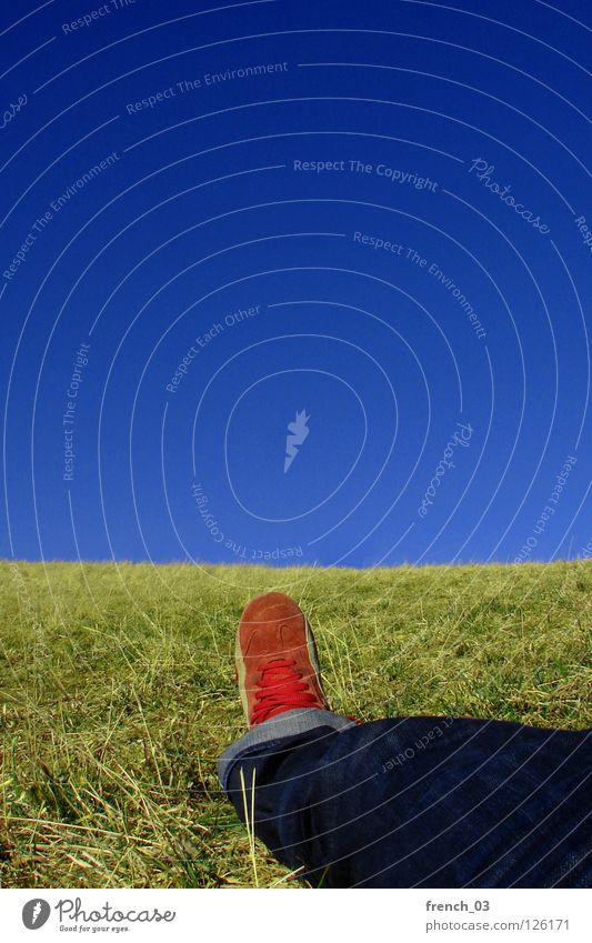 Self Himmel zyan strahlend Schuhe Hose Gras Wiese T-Shirt rot weiß Streifen gestreift liegen Erholung genießen grün saftig Frühling diagonal Abstieg aufsteigen