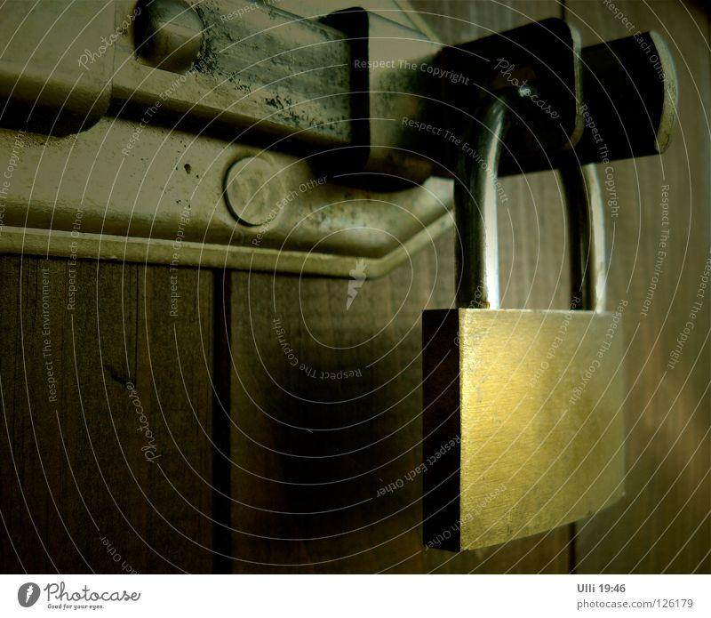 Winterschlaf. ruhig Herbst Menschenleer Hütte Tür Riegel Holz Rost Schloss warten alt kalt trist braun Langeweile Einsamkeit stagnierend geschlossen