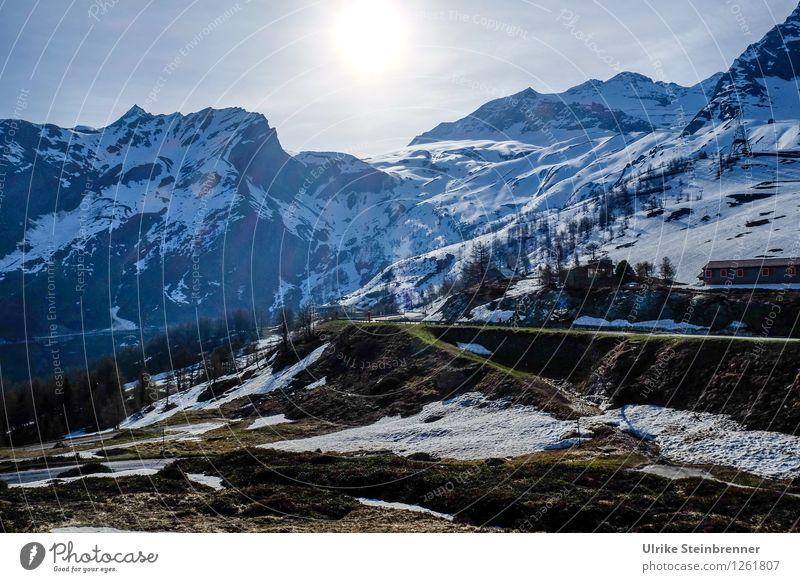 Morgens am Simplon Natur Ferien & Urlaub & Reisen Pflanze blau Sommer Baum Landschaft kalt Berge u. Gebirge Umwelt Straße Frühling natürlich Schnee Tourismus