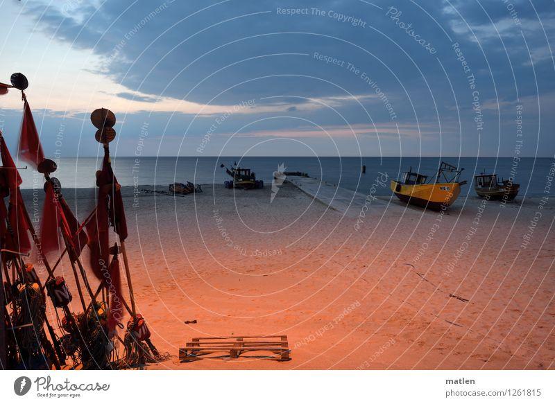 Schlafplatz Himmel Natur blau Wasser rot Landschaft ruhig Wolken Strand gelb Küste grau braun Sand orange Wetter