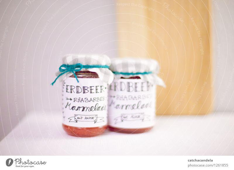 Marmelade Lebensmittel Frucht Erdbeeren Rhabarber Minze Ernährung Frühstück Glas Handlettering Dekoration & Verzierung Schriftzeichen Essen genießen frisch