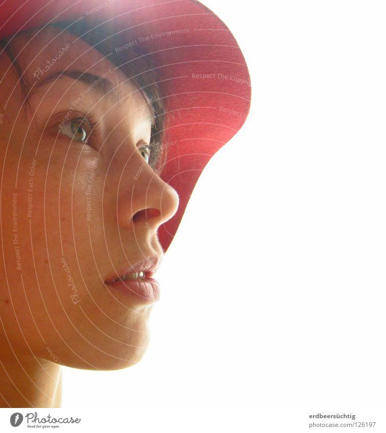 ein Licht geht auf Frau Mensch weiß Sonne rot Gesicht ruhig Auge Mund Nase rein Klarheit Dame Konzentration Hut Fragen