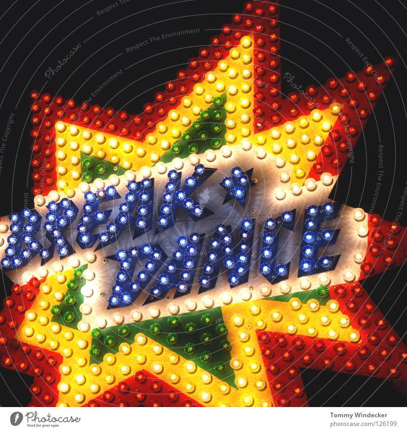 Break Dance Breakdancer Disco Leuchtreklame Glühbirne Elektrizität elektrisch Jahrmarkt Fahrgeschäfte mehrfarbig Schausteller Lampe Werbung gelb Lichterkette