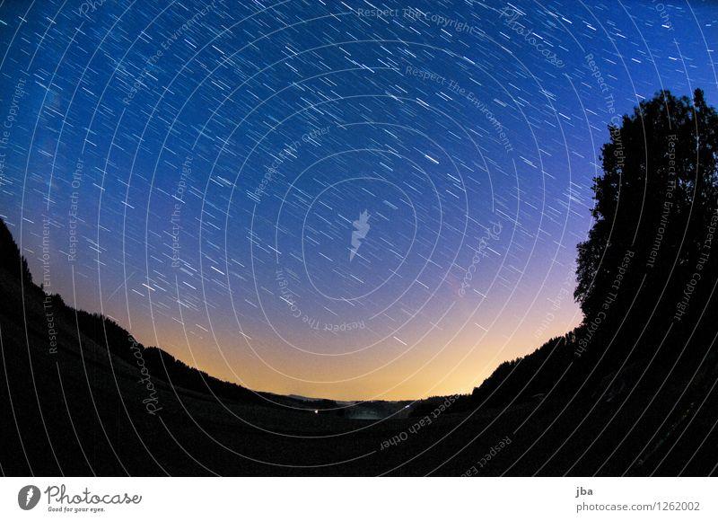 Nachthimmel im Emmental harmonisch ruhig Meditation Natur Landschaft Urelemente Erde Himmel Stern Horizont Sommer Schönes Wetter Baum Feld Schweiz beobachten