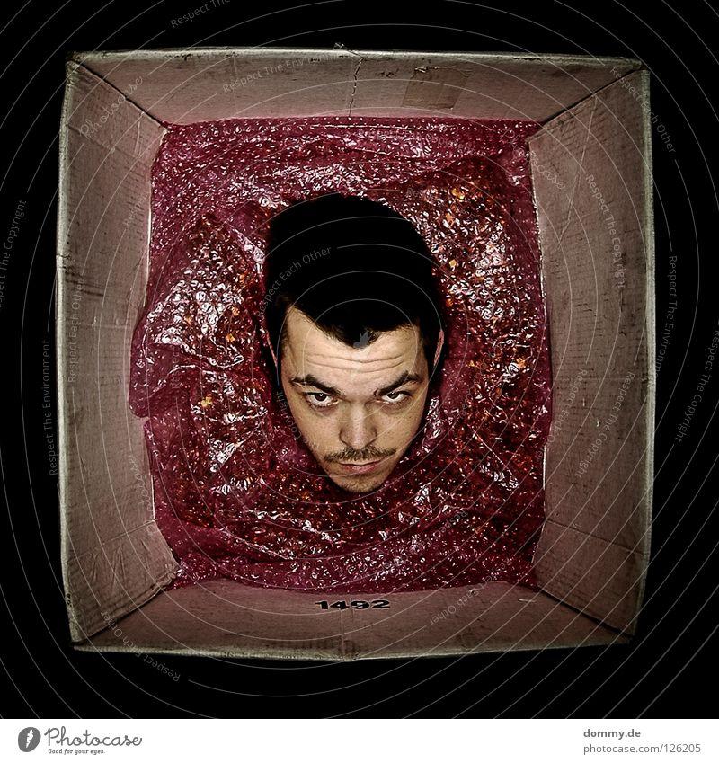 living in a box Mann Kerl Bart Stoppel dunkel dreckig Folie Lippen schwarz Überraschung Karton kopflos Post senden erschrecken Angst Panik Freude thomas Gesicht