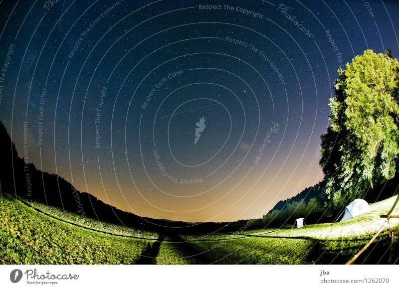 Nachthimmel im Emmental II ruhig Camping Natur Landschaft Luft Erde Himmel Stern Horizont Sommer Schönes Wetter Baum Feld Schweiz blau Fischauge Lagerplatz
