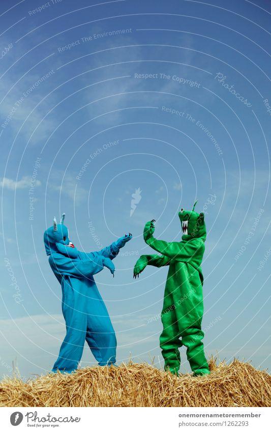 Clash of Civilisations Mensch blau grün Freude Kunst ästhetisch Karneval kämpfen Kunstwerk Kostüm Blauer Himmel Karnevalskostüm Stroh Monster Kampfsport spaßig